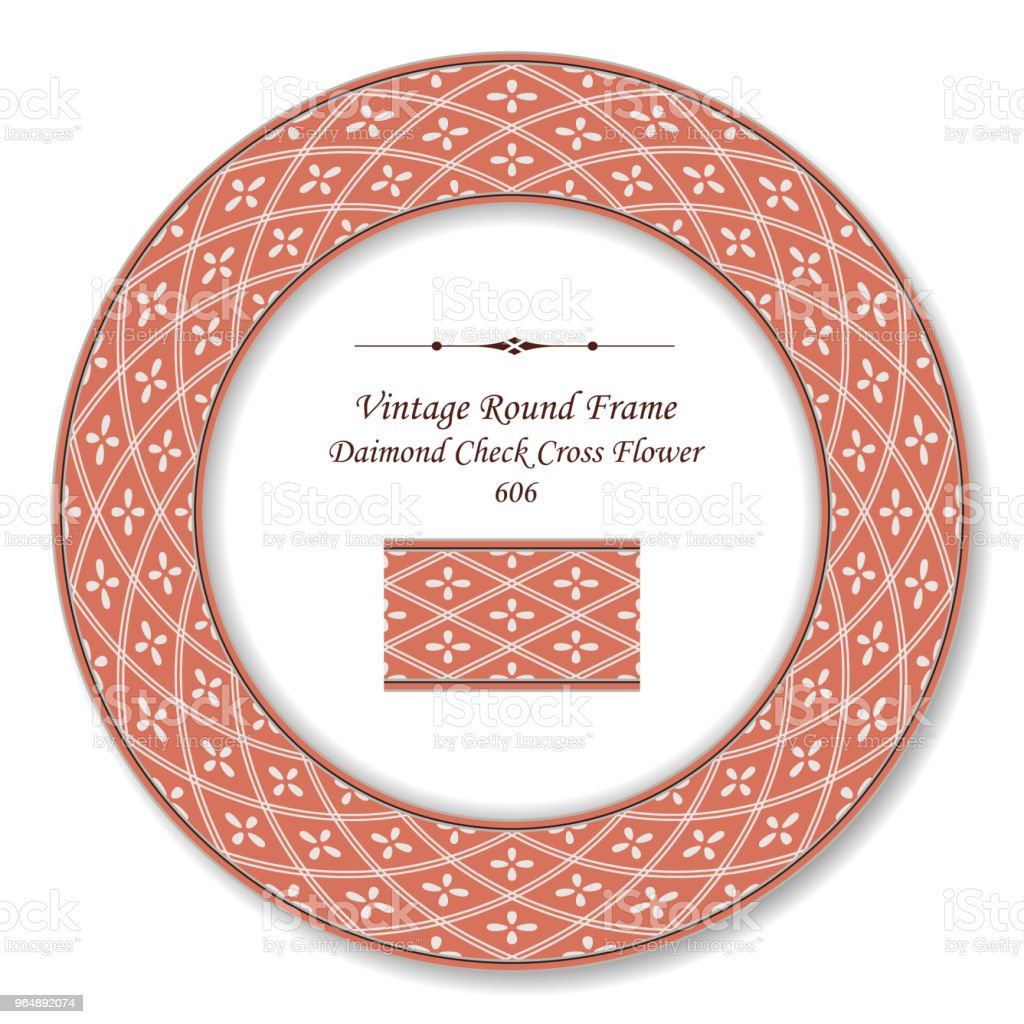 Vintage Round Retro Frame diamond check cross line flower royalty-free vintage round retro frame diamond check cross line flower stock vector art & more images of backdrop - artificial scene