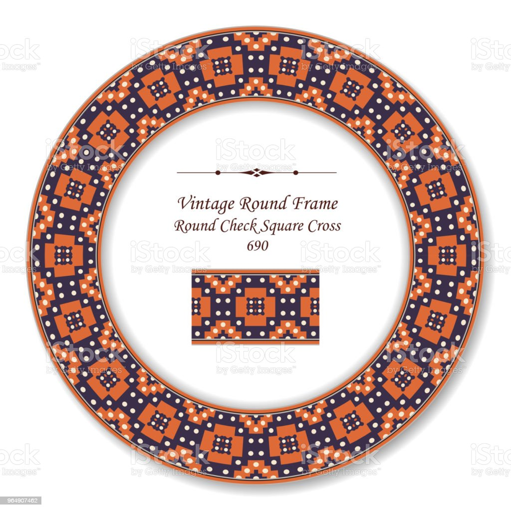 Vintage Round Retro Frame dot check square cross royalty-free vintage round retro frame dot check square cross stock vector art & more images of baroque style