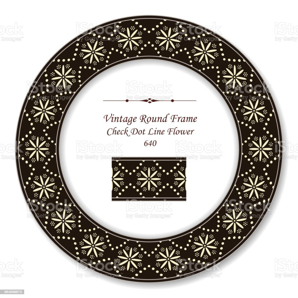 Vintage Round Retro Frame dot line check cross flower royalty-free vintage round retro frame dot line check cross flower stock vector art & more images of baroque style