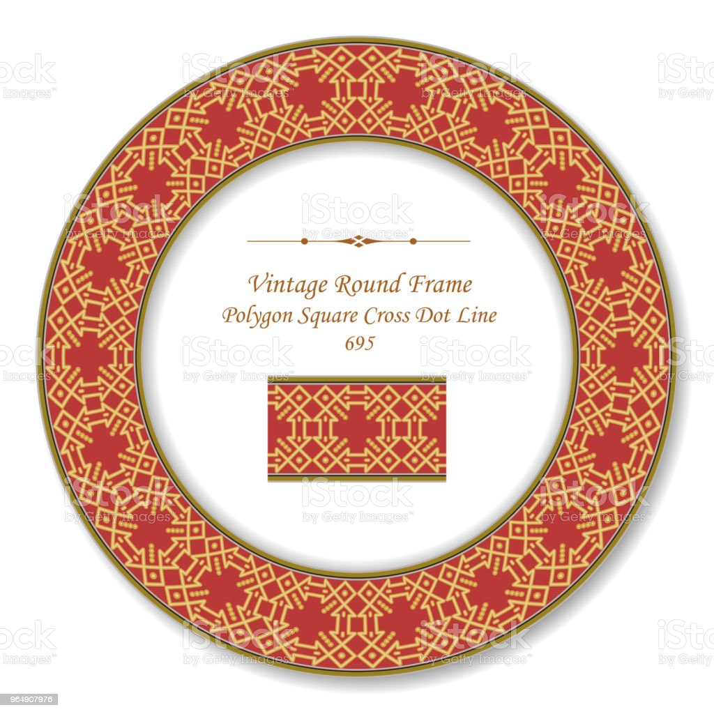 Vintage Round Retro Frame golden polygon check square cross dot line royalty-free vintage round retro frame golden polygon check square cross dot line stock illustration - download image now