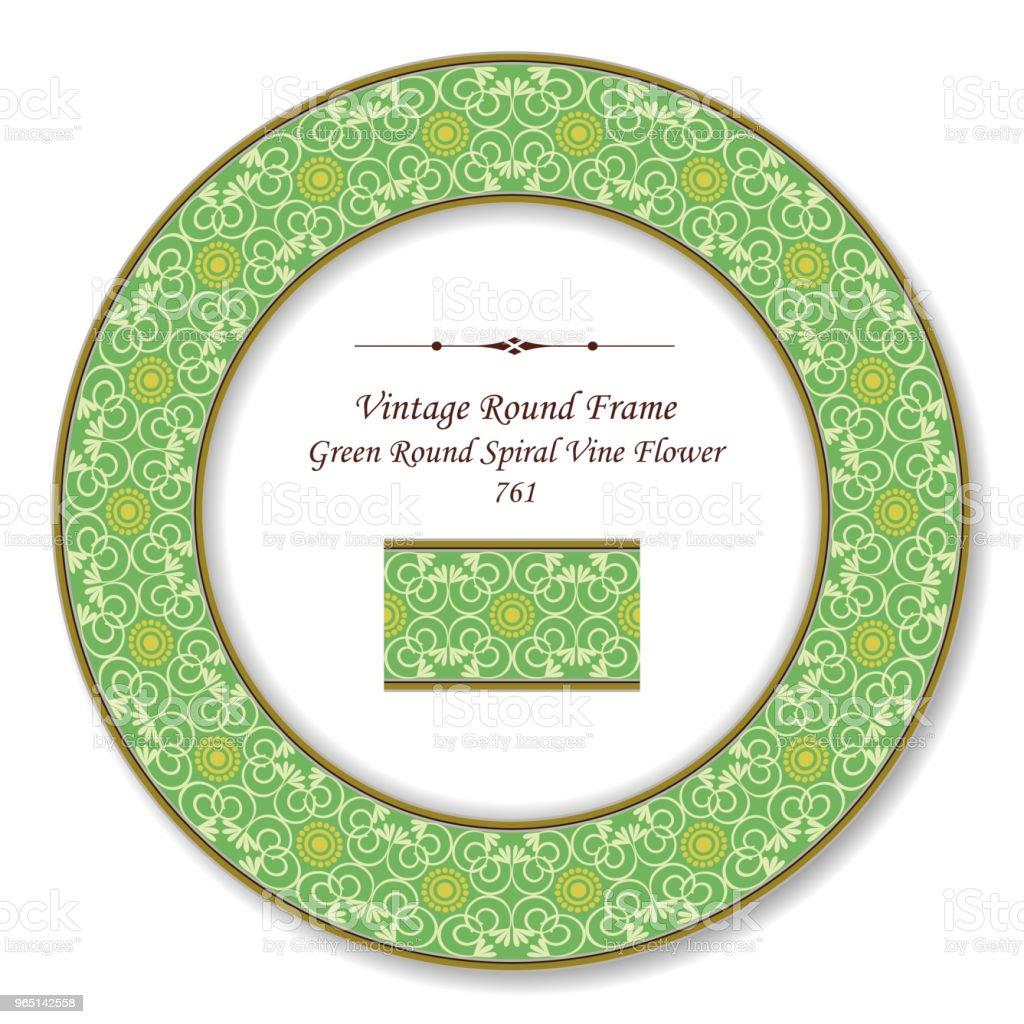 Vintage Round Retro Frame green curve spiral cross vine flower vintage round retro frame green curve spiral cross vine flower - stockowe grafiki wektorowe i więcej obrazów adamaszek royalty-free