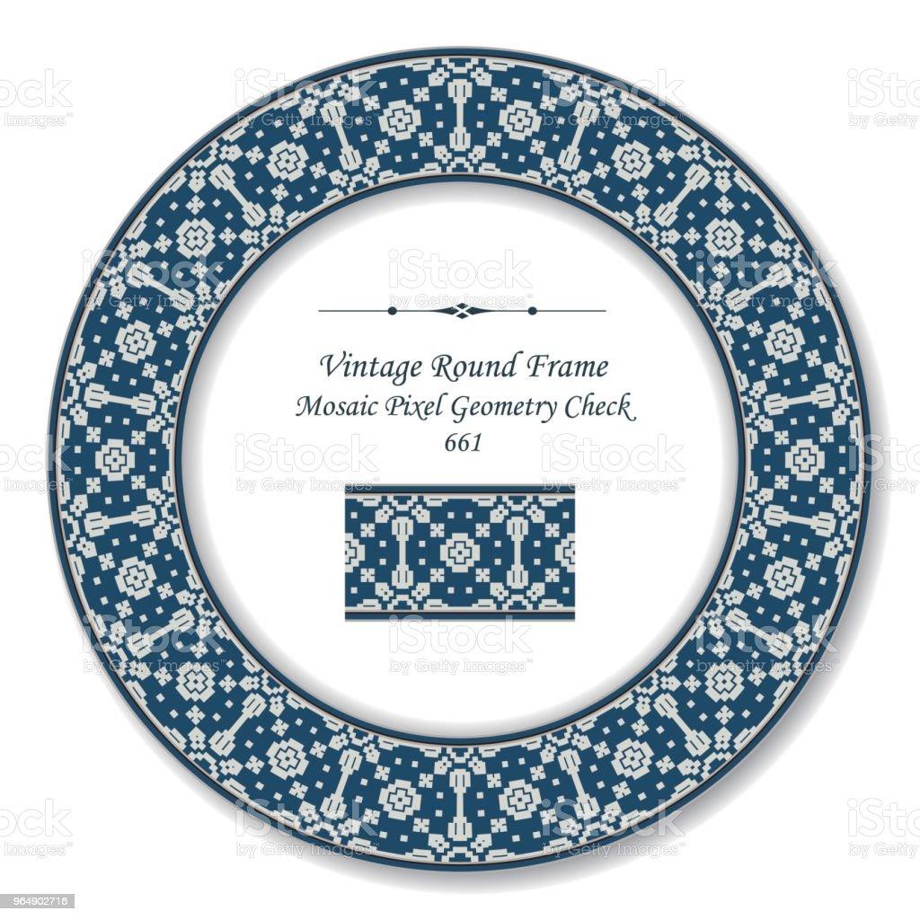 復古圓復古框架馬賽克圖元幾何檢查萬花筒 - 免版稅一組物體圖庫向量圖形