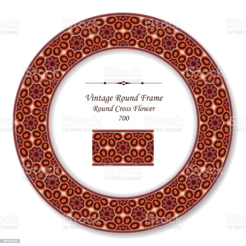 Vintage Round Retro Frame red cross flower royalty-free vintage round retro frame red cross flower stock vector art & more images of baroque style