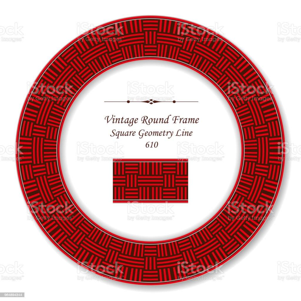 復古圓復古框架紅方幾何十字線 - 免版稅一組物體圖庫向量圖形