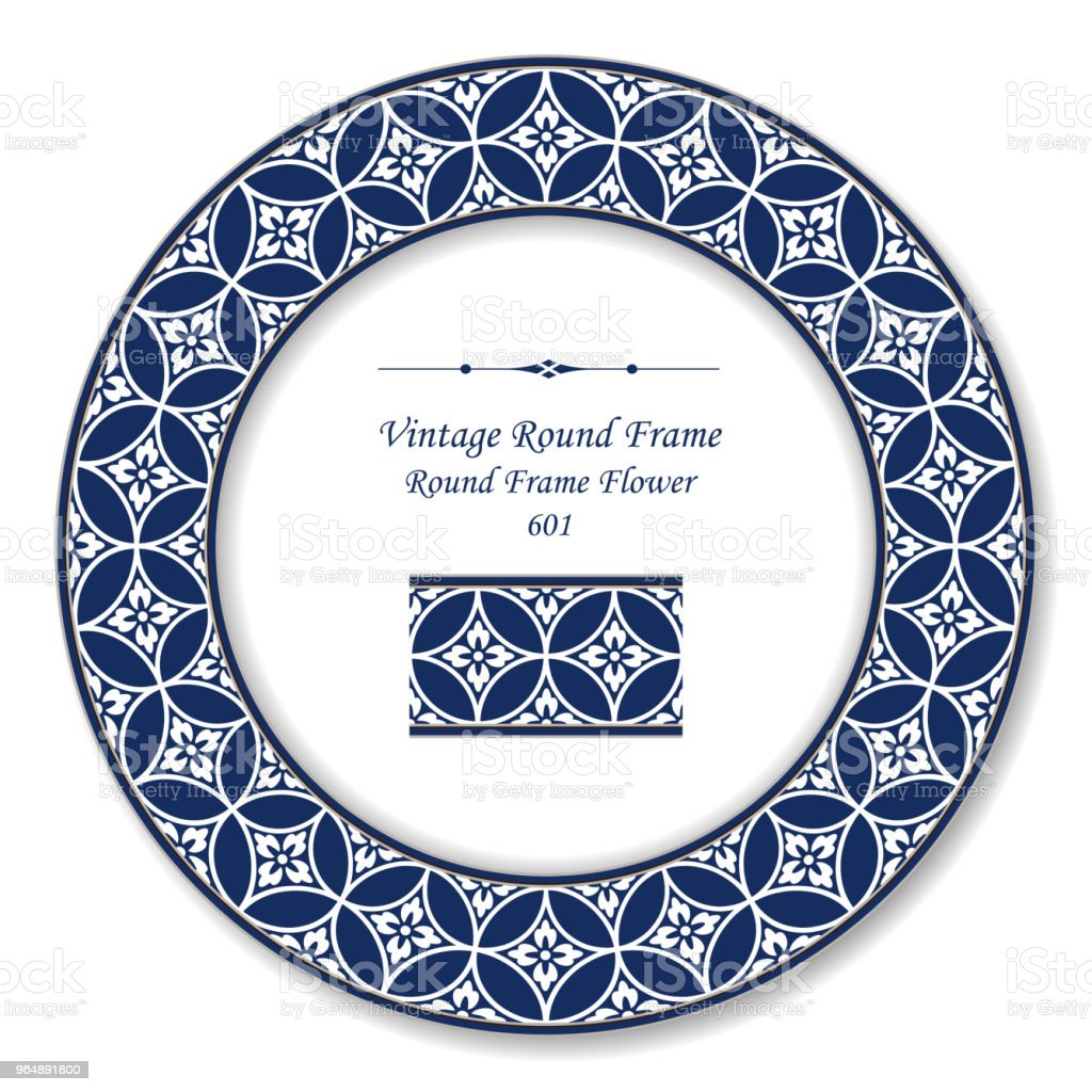 Vintage Round Retro Frame round cross blue frame flower royalty-free vintage round retro frame round cross blue frame flower stock illustration - download image now