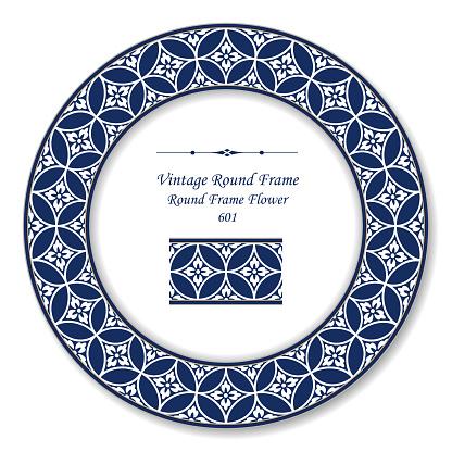 復古圓形復古框圓十字藍框花向量圖形及更多一組物體圖片