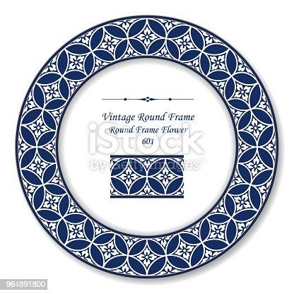Vintage Round Retro Frame Round Cross Blue Frame Flower Stock Vector Art & More Images of Baroque Style 964891800
