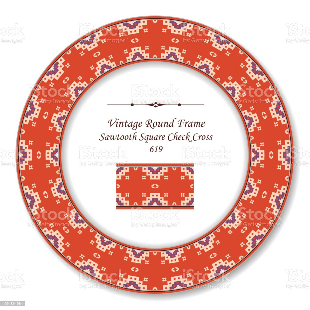 Vintage Round Retro Frame sawtooth square check cross dot royalty-free vintage round retro frame sawtooth square check cross dot stock vector art & more images of backdrop - artificial scene