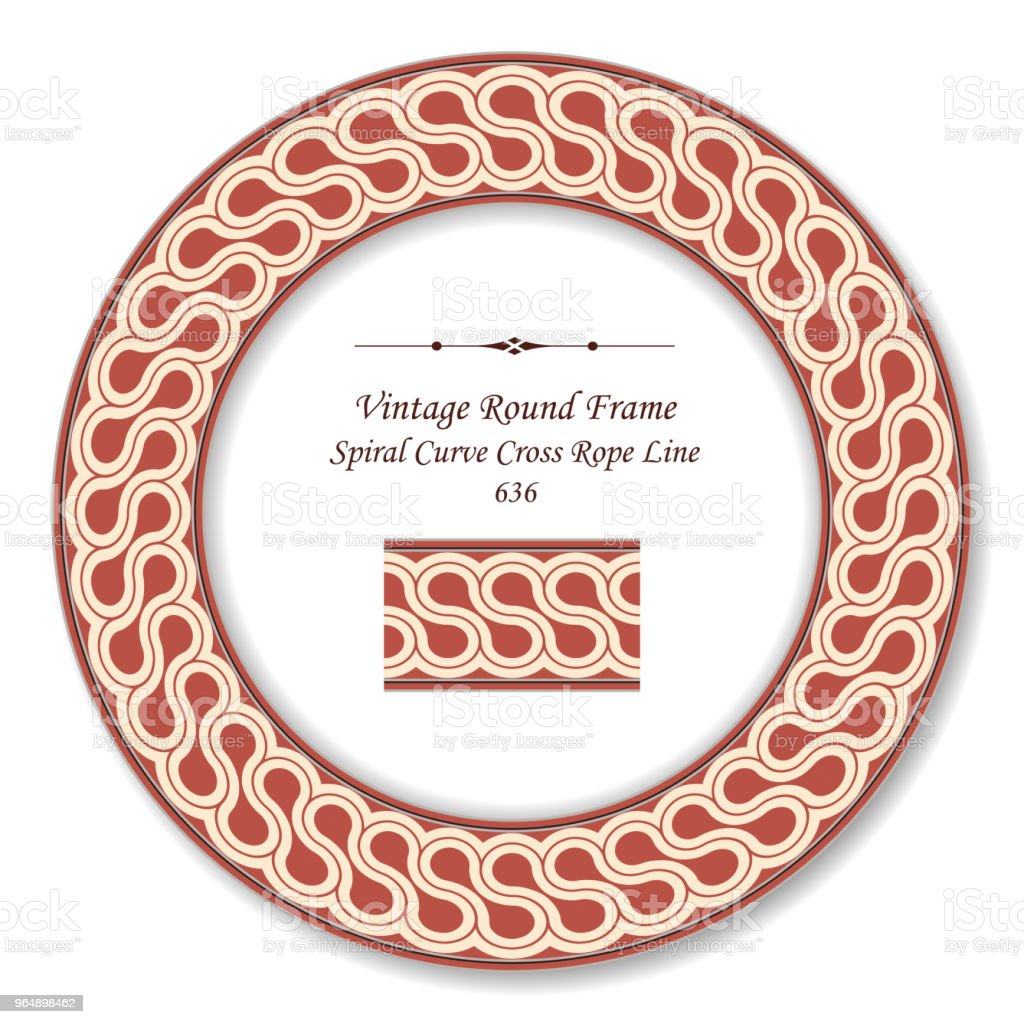 Vintage Round Retro Frame spiral curve cross rope line royalty-free vintage round retro frame spiral curve cross rope line stock vector art & more images of baroque style