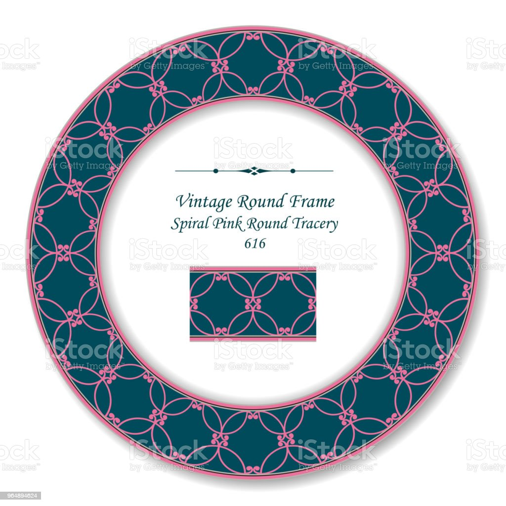 Vintage Round Retro Frame spiral pink curve tracery royalty-free vintage round retro frame spiral pink curve tracery stock vector art & more images of baroque style