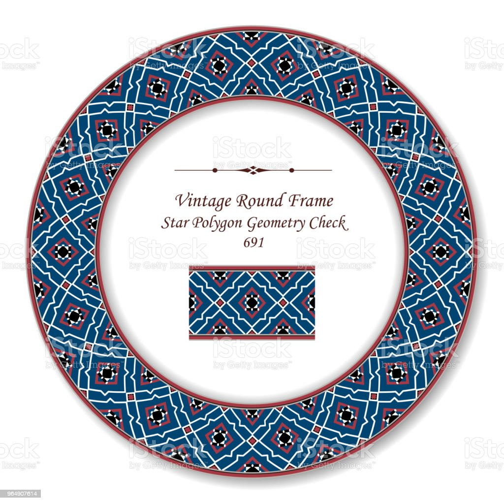 Vintage Round Retro Frame star polygon geometry check royalty-free vintage round retro frame star polygon geometry check stock vector art & more images of baroque style