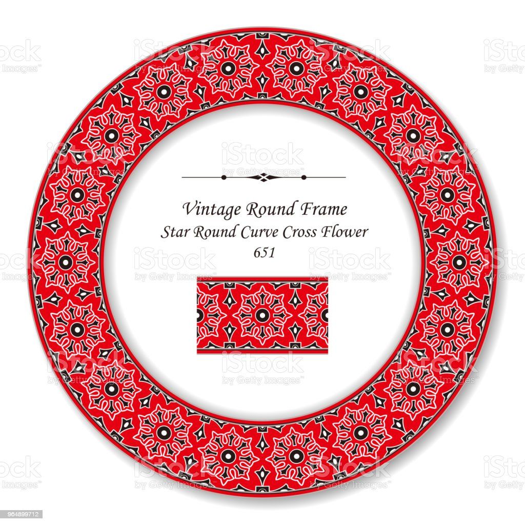 Vintage Round Retro Frame star round curve cross flower - Royalty-free Baroque Style stock vector