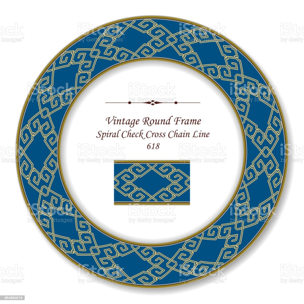 Vintage Round Retro Frame yellow spiral check cross chain line - Royalty-free Baroque Style stock vector