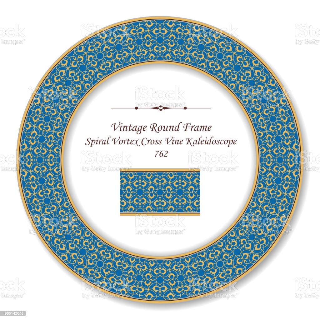 Vintage Round Retro Frame yellow spiral vortex curve vine kaleidoscope vintage round retro frame yellow spiral vortex curve vine kaleidoscope - stockowe grafiki wektorowe i więcej obrazów adamaszek royalty-free