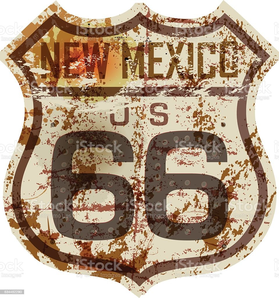 vintage route 66 road sign vector art illustration