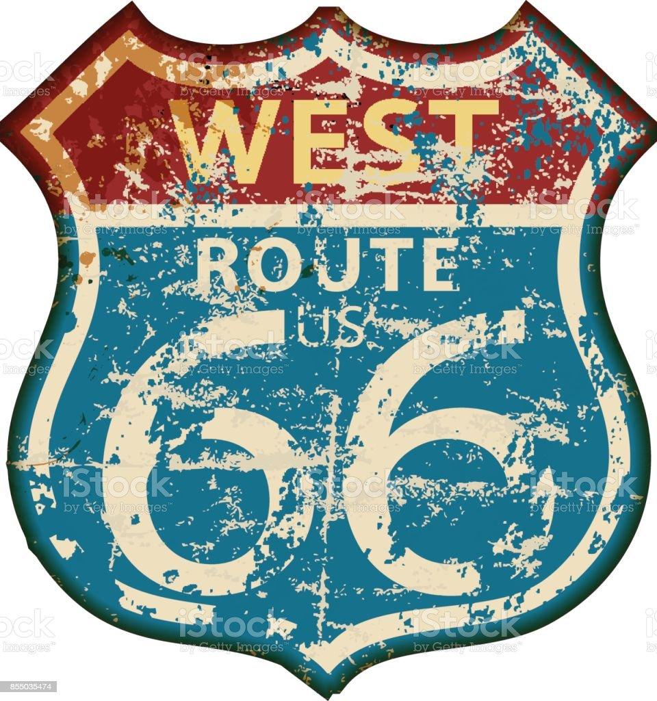 vintage route 66 road sign vector art illustration