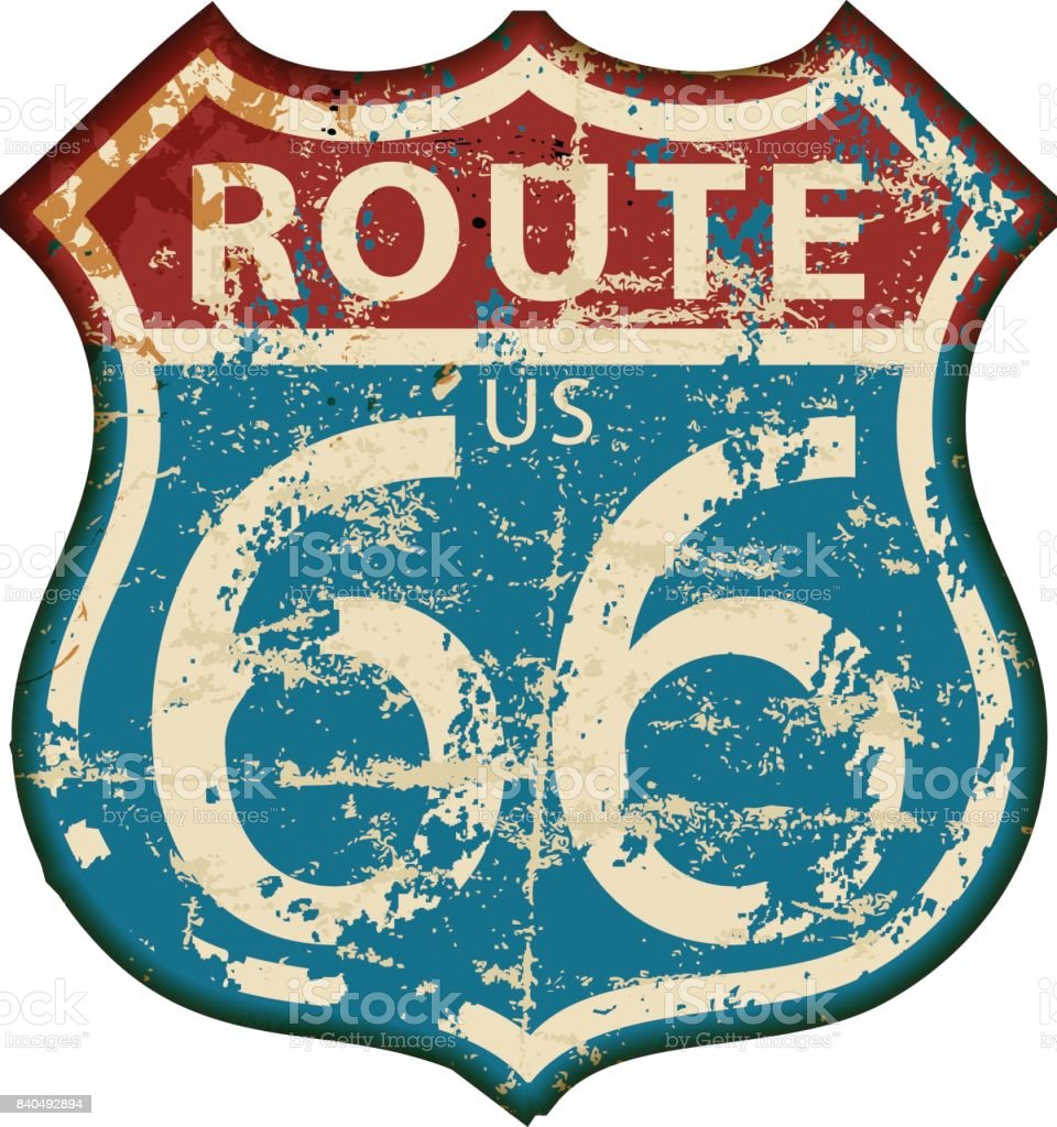 vintage route 66 road sign, vector vector art illustration