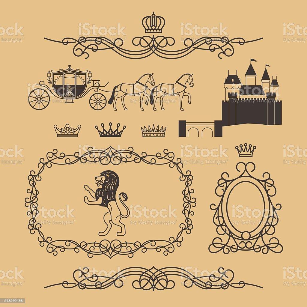 Jahrgang Königliche und Prinzessin Design-Elemente – Vektorgrafik