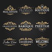Vintage Royal Flourish Frame Decorative Design for Banner, Sticker, Label, Tags, Invitation. Vector illustration