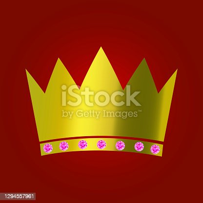 istock Vintage royal icon with golden crown. Elegant abstract background. Vintage vector illustration. Stock image. EPS 10. 1294557961