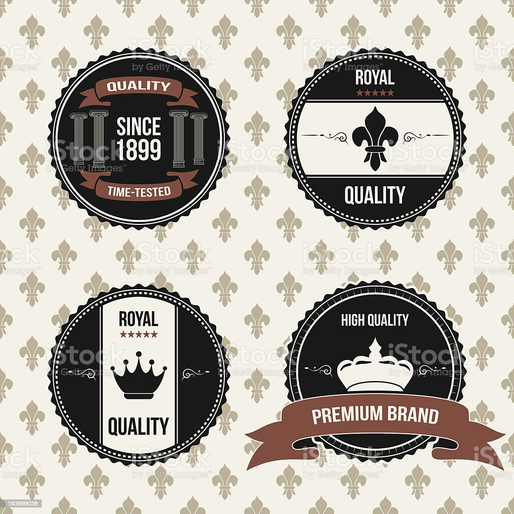 vintage royal labels vector art illustration