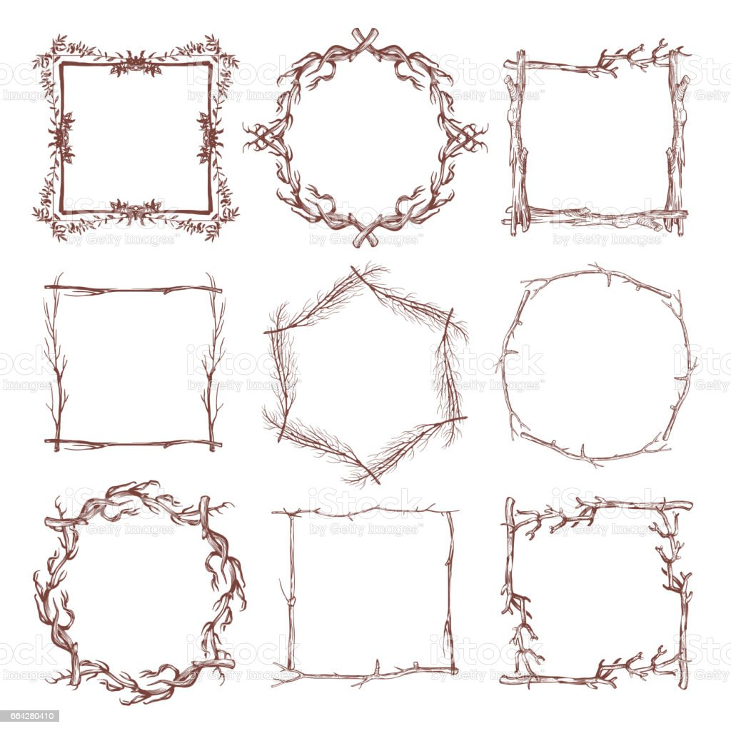 Vintage Rustic Branch Frame Borders Hand Drawn Vector Set Royalty Free