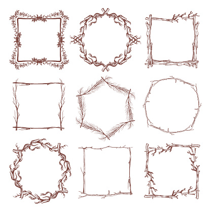 Vintage rustic branch frame borders, hand drawn vector set