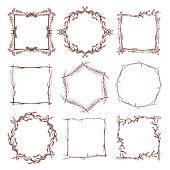 istock Vintage rustic branch frame borders, hand drawn vector set 664280410