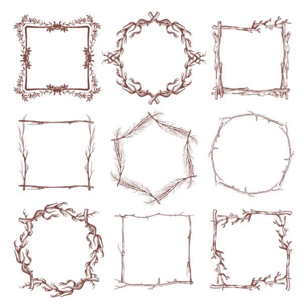 vintage rustic branch frame borders, hand drawn vector set - gałązka stock illustrations