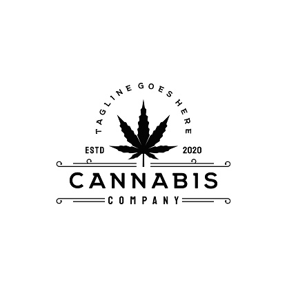 vintage rustic cannabis leaf, logo .  stock illustration Cannabis Plant, Cannabis Leaf, Marijuana - Herbal Cannabis, Logo