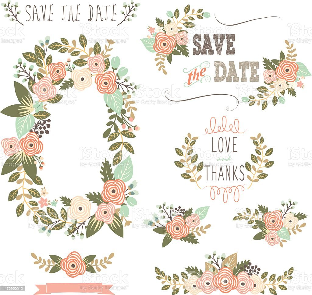 Vintage Rustic Floral Wreath Illustration Royalty Free Stock Vector