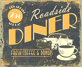 Vintage Roadside Diner tin sign lot's of texture and wear