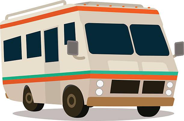 vintage wohnanhängern und wohnmobilen - tour bus stock-grafiken, -clipart, -cartoons und -symbole