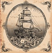 vintage sailboat in retro engraving style