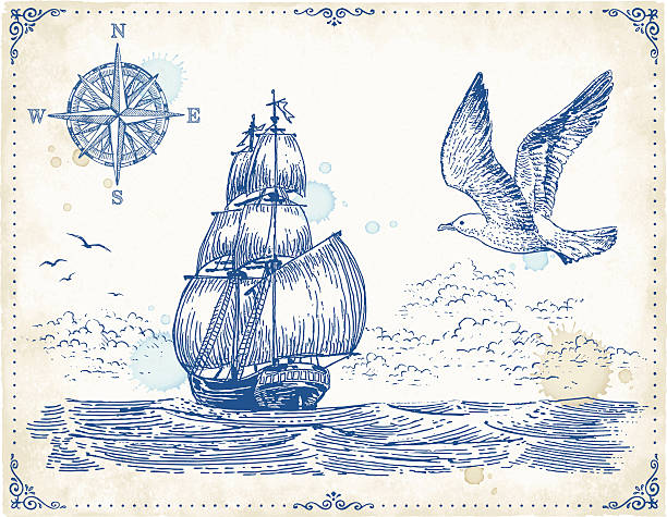 Vintage Sailing Ship Drawing vector art illustration