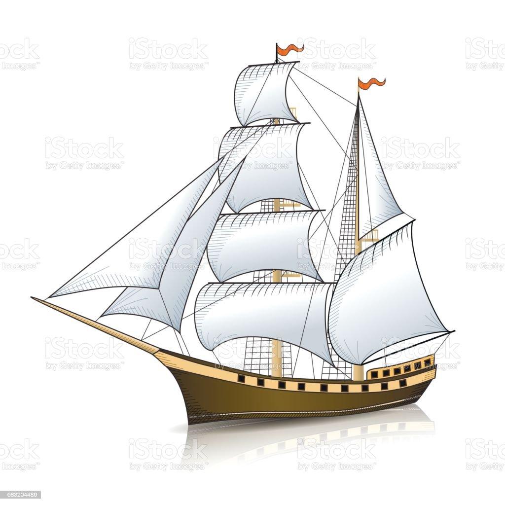 用反射的老式帆船 免版稅 用反射的老式帆船 向量插圖及更多 一個物體 圖片