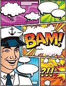 Vintage Sailor Comic Book Layout Template