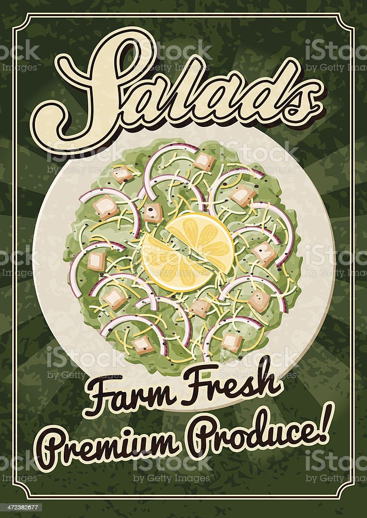 Vintage Salad Poster royalty-free stock vector art