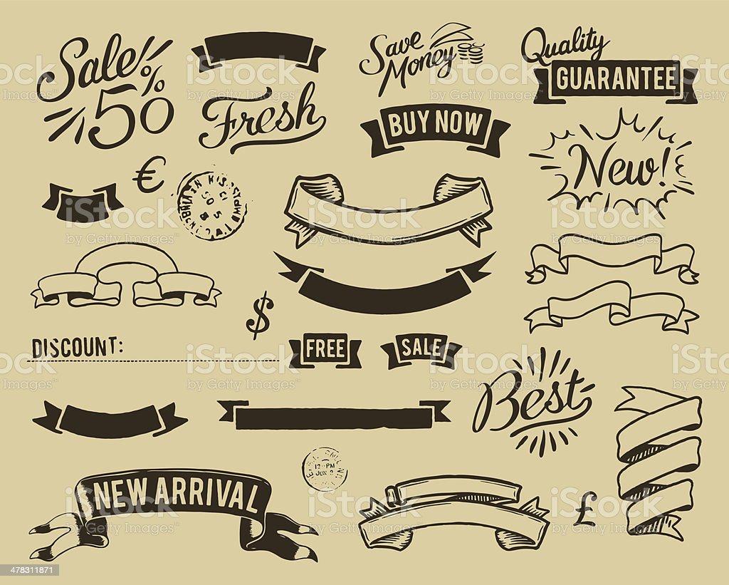 vintage sale icons set vector art illustration