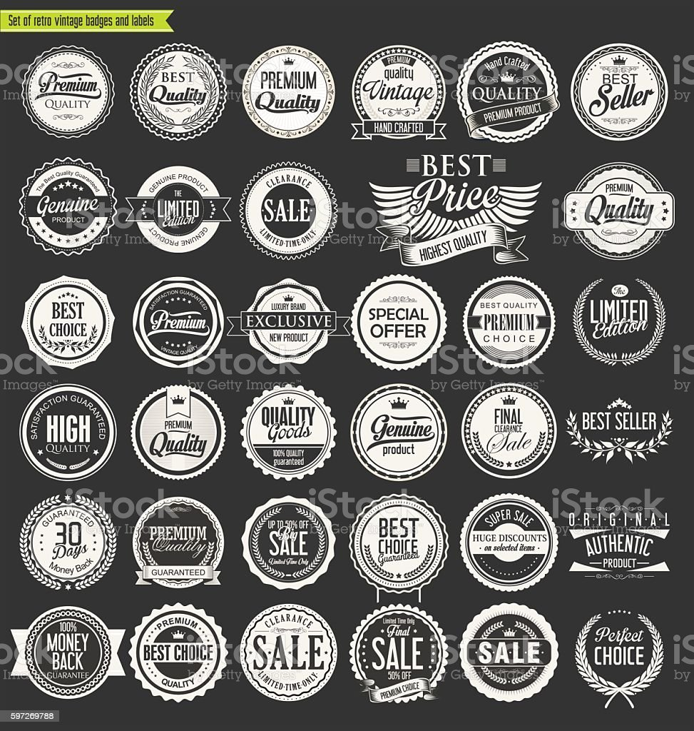 Vintage sale labels collection design elements vintage sale labels collection design elements – cliparts vectoriels et plus d'images de arts culture et spectacles libre de droits