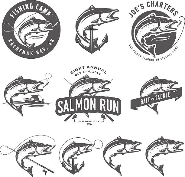 Vintage salmon fishing emblems and design elements Vintage salmon fishing emblems and design elements. freshwater fishing stock illustrations