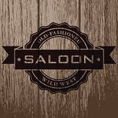 A simple vintage styled  label printed on an aged, weathered wood plank background. The label itself is transparent and shapes are grouped for easy editing.