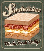 A vintage styled sandwich poster. Grunge texture is transparent and on its own layer so it's easy to turn off.