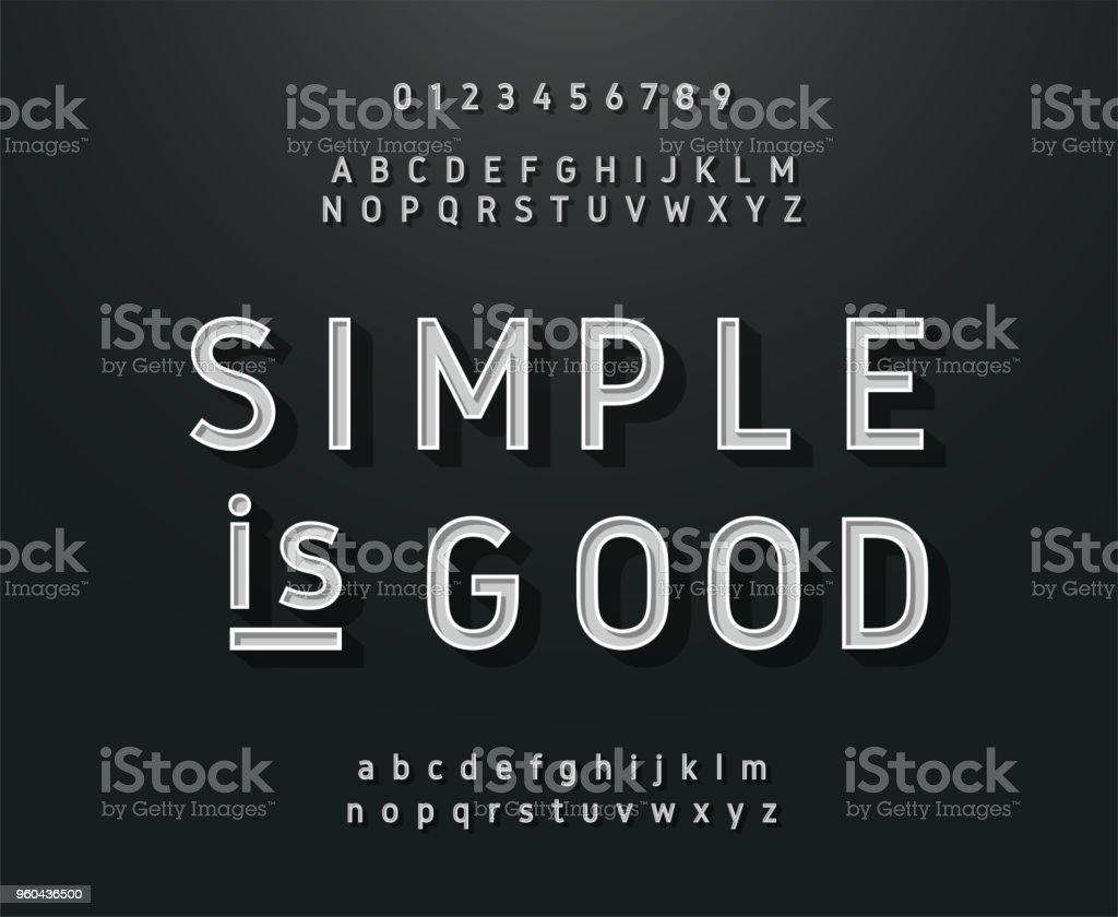 Vintage sans serif alphabet. Retro typography font classic style vector art illustration