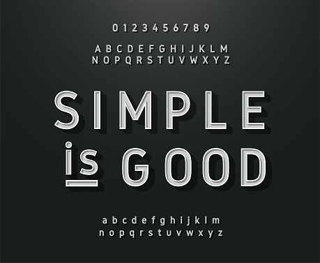Vintage Sans Serif Alphabet Retro Typography Font Classic Style Stock Illustration - Download Image Now