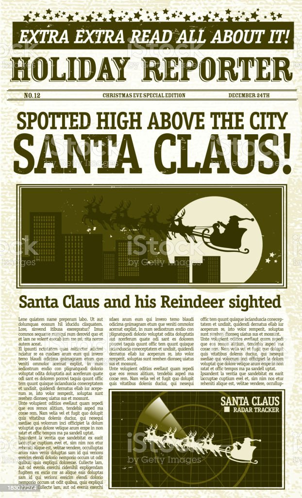 Vintage Santa Claus Sighting Front Page Newspaper Royalty Free