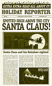 Vector illustration of a vintage newspaper. Features Santa Claus sighting on front page headline. Sample body text, Santa and Reindeer as well as Santa Radar design.