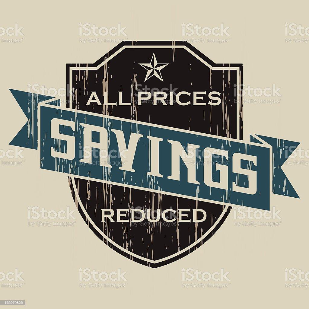 Vintage Savings Label royalty-free stock vector art