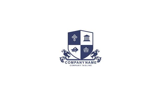 Vintage School Crest Emblem Vector