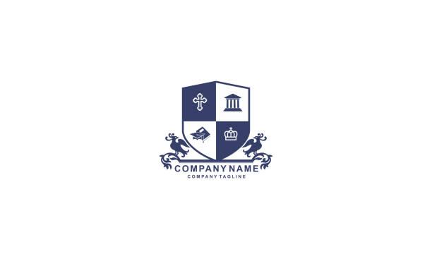 vintage school crest emblem vector - wappen stock-grafiken, -clipart, -cartoons und -symbole